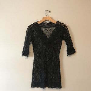Lace sexy see through floral 3/4 sleeves top blous